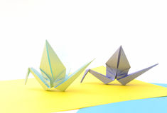 Origami birds. Child paper articles. Royalty Free Stock Photo