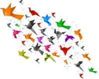 Origami birds flying Stock Photo