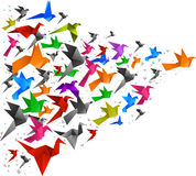 Origami birds flying 2 Stock Images