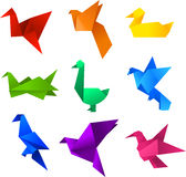 Origami birds. Icons set. With nine (9) different  in different colours like: red, orange, yellow, green, turquoise, blue, light blue, violet and pink Stock Photography
