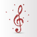 Origami birds violin clef. Vector. Illustration Stock Images