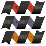 Origami black paper numbered banners Royalty Free Stock Photography