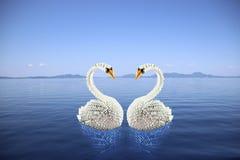 Origami blanc de cygnes dans l'amour sur la mer Photos libres de droits