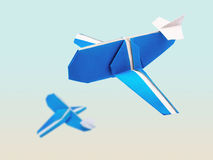 Origami blue airplanes royalty free stock photo