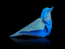 Origami blue bird Stock Photos