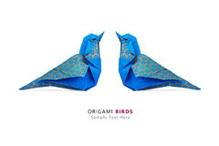 Origami blue birds couple Stock Images