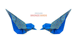 Origami blue birds couple Royalty Free Stock Photo