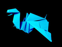 Origami blue Dragon isolated on black Stock Photos