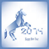 Origami blue horse 2014 Stock Photography