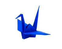 Origami blue paper bird. On white background Royalty Free Stock Image