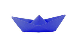 Origami blue paper boat Stock Image