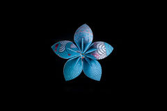 Origami blue, white and red isolated on black background Royalty Free Stock Photo