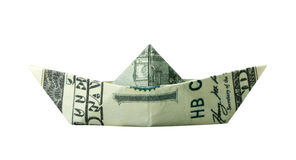 Origami boat folded from $100 banknote Royalty Free Stock Images