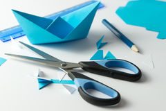Origami boat making Royalty Free Stock Image