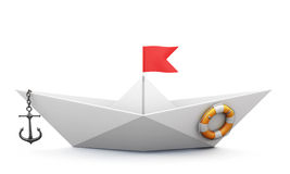 Origami boat out of paper with an anchor and a lifeline. On a white background. 3d illustration Royalty Free Stock Photos