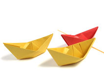 Origami boat over white Stock Images