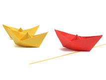 Origami boat over white Royalty Free Stock Image