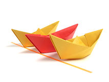 Origami boat over white Stock Image