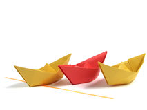 Origami boat over white Royalty Free Stock Images