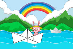 Origami boat with rabbit fishing. Illustration Royalty Free Stock Images