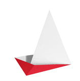 Origami boat. Red origami boat isolated on hite background Royalty Free Stock Images
