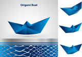 Origami boat. Vector blue origami Boat. Background with a metallic element Stock Images