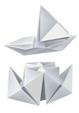 Origami_boats. Illustration of folded paper models steamboat and sailboat. Vector illustration Stock Photography