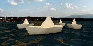 Origami boats Stock Photos