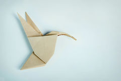 Origami brown paper hummingbird Royalty Free Stock Images