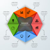 Origami business infographic design with web icons. Royalty Free Stock Image