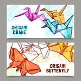 Origami butterflies and cranes banners set. Origami butterflies and cranes paper folded symbols of  hope 2 horizontal banners set abstract  vector illustration Royalty Free Stock Images