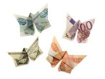 Origami butterflies euro, dollar, ruble. Collection of origami butterflies euro, dollar, ruble royalty free stock photo