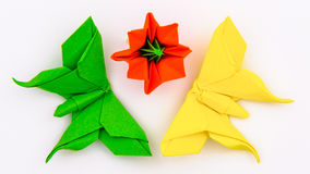 Origami butterflies flower Royalty Free Stock Images