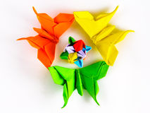 Origami butterflies flower bud Royalty Free Stock Image
