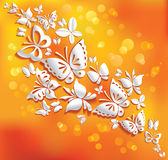 Origami butterflies on the sunny background. Royalty Free Stock Photo