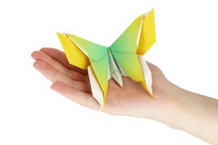 Origami butterfly. In the human hand stock photography