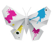 Origami butterfly with ink Royalty Free Stock Image