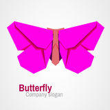Origami butterfly logo. Abstract butterfly origami logo design. Can be used for corporate identity, application icon, beauty salon logotype Stock Photos