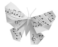 Origami butterfly with musical notes Royalty Free Stock Photography