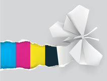 Origami butterfly with print colors Royalty Free Stock Image