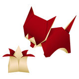 Origami cat. Isolated origami cat, vector illustration Royalty Free Stock Photo