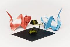 Origami Cat Fight Royaltyfria Bilder