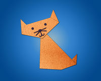 Origami cat made from paper Stock Photo