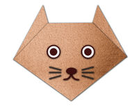 Origami cat made from paper made from paper Stock Photo