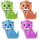 Origami cat Recycled Papercraft Royalty Free Stock Images