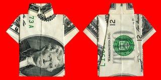 Origami chemise de billet de deux dollars Photographie stock libre de droits