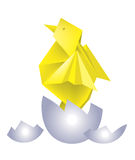 Origami chicken egg. Illustration of folded paper models chicken in the broken  egg. Vector illustration Stock Photography