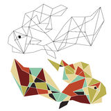 Origami china fish doodle. Royalty Free Stock Images