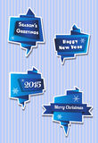 Origami Christmas banners in blues Stock Images