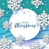 Origami Christmas Greetings card. Paper cut snow flake. Happy New Year. Winter snowflakes background. Circle frame. Space for text. Blue mountains. Landscape Royalty Free Stock Image